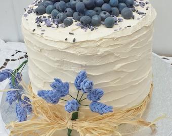 Blueberry and Lavender Fake Cake, display cake, fake cake, purple cake, blueberrries, lavender