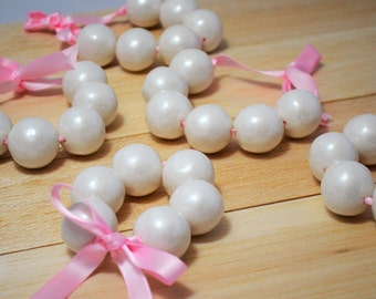 Gumball Bracelet, Valentines day treat, pink and white bracelet, valentines day bracelet, white gumball bracelet, party favor