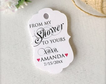 From my shower to yours tags, thank you tags, soap favor tags, bath salts tags, baby shower favor tags, bridal shower tags - set of 30(tg35)
