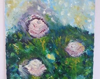 Oil on Canvas, Three Pink Roses, Original Painting, Italian Artwork
