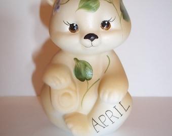 Fenton Glass April Birthday Lilacs Sitting BEAR Figurine GSE K Barley Limited Edition #4