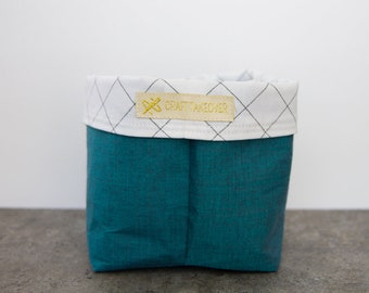 Teal Blue Catchall Fabric Basket