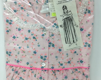 Vintage Woolworth Flannelette Flannel Long Gown Nightgown Sleepwear