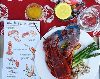 How To Eat a Lobster Table Cards - Instructional Cards - Lobster Bake Place Setting - Bridal Shower - Rehearsal Dinner Decor