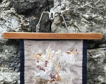 Organic slow stitch art quilt - Rust print & walnut ink eco dye