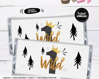 INSTANT DOWNLOAD -  Wild one Birthday Hersheys wrappers black and gold wild one birthday decorations chocolate bar wrappers candy wrapper