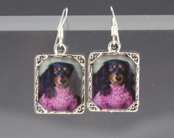 Black Brown Dachshund Doxi Dog Puppy Picture 3D Earrings Long Haired Silver