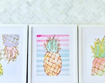 Pineapple Print, Summer print, Kitchen Decor, Gift for friend, Teenager Bedroom, Tropical Print, Pineapple Wall Art, Fruit Print, Gift for H