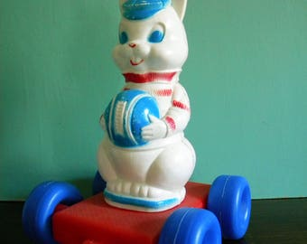 Vintage Tico Toys Easter Bunny Rabbit Pull Toy Plastic Blow Mold Red White and Blue