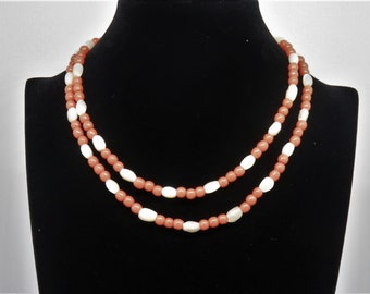 1920's Czech Coral and Mother-of-Pearl Glass Beaded Necklace