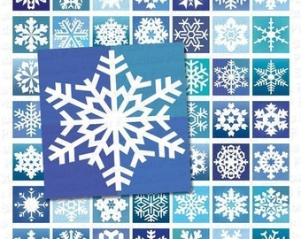 Frosty Snowflakes - Digital Collage Sheet - 1 Inch Squares - Instant Download