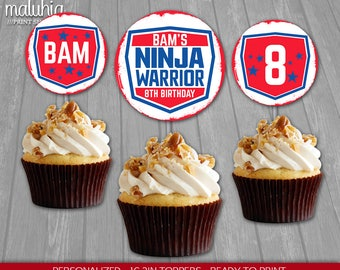 American Ninja Warrior Cupcake Toppers - Ninja Warrior 16 Custom Cupcake Toppers Birthday Party - Ninja Birthday Party Decoration (NW2IN02)