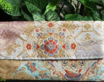 Japanese Vintage Silk Fukoro Obi Clutch Purse