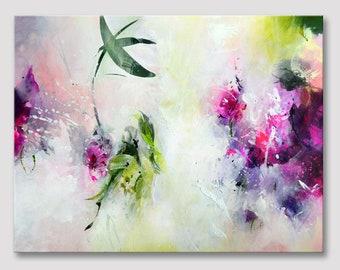 Originele abstract schilderij op uitgerekt doek, abstracte kunst, bloem schilderen, fuchsia magenta paars, Acryl schilderij, gele groene olijf