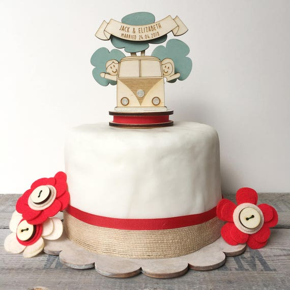 Camper Van wedding topper - personalised cake topper - keepsake decoration