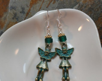 Antique Gold Angel Sterling Silver Earrings, Green Angel Sterling Silver Earrings, Angel Green Earrings, Angel Earrings