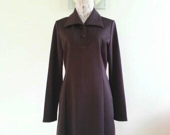 On Sale! Vintage Brown shirt dress size L