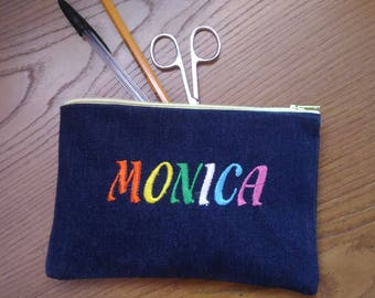 Mother's Day gift mother Pen Pouch bag with embroidered name