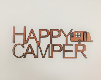 HAPPY CAMPER Airstream Trailer Sign made of Rusted Rusty Rusted Recycled Metal
