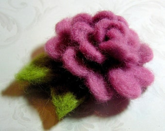 Felted Rose - Custom Color Listing - Large Wool Rose - Needle Felted Large Rose Applique Decoration - You Choose the Color - Felt Flower