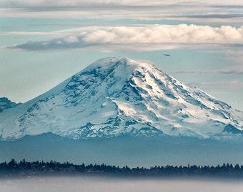 Mount Rainier | Pacific Northwest Landscape Photography | Seattle Mountain Landscape | Airplane | Home Decor | Office Decor | Blue