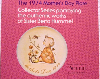 Vintage Hummel Schmid 1974 The Bumblebee Mother's Day Limited Edition Plate w/Box