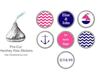 Pink and Navy Bridal Shower Favor - 88 Hershey Kiss Labels  - Stickers for Candy Kisses