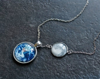 Moon and Earth Necklace - Glass Dome Full Moon Phase and Earth and Solar System Planet Necklace - Science Necklace