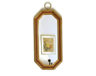 Vintage Wall Mirror, Gold Octagon Mirror, 23 x 10 inches, Wood Framed Mirror, Turner Wall Deor