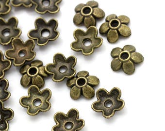 Set of 20 cups 7 x 6 mm bronze flowers