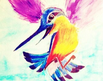 Humming Bird in Watercolor