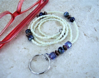 Blue and Cream Necklace Lanyard for Glasses, One Of A Kind, Gift for Her