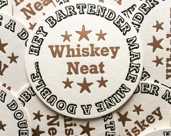 Whiskey Neat Letterpress Beermats, 4 Pack