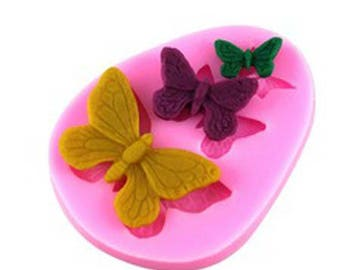 silicone mold pink three butterflies