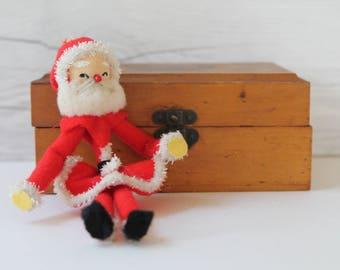 Vintage Spun Cotton and Felt Santa Ornament, Vintage Christmas Decor