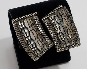 Classic Silver Tone Stained Glass Look Clip Earrings