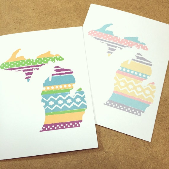Michigan card with washi tape design made in michigan m4hsunfo Images