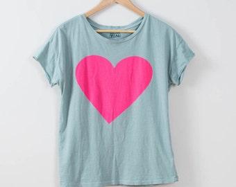 Choose Love, Women's Hot Pink Heart Tee, Small
