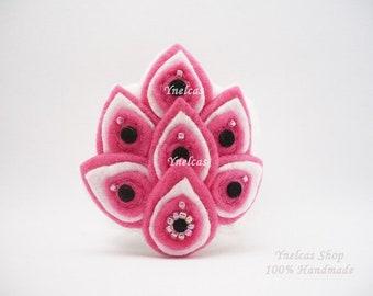 Handmade Bracelet  Crocheted  Felt Cuff Bracelet  - Beaded bracelet crochet - pink white and black