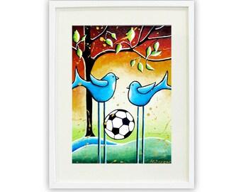 Kids Room Decor Soccer Art Print, Boys Girls Room Decor, Soccer Player Art, Whimsical Bird Art, Summer Sports Art Soccer Lover Gift