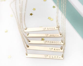 Name Necklace, Bar Necklace, Personalized Jewerly, Bridesmaid Gift, Rose Gold Necklace, Bar Necklace Gold, Engraved Necklace