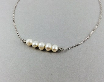 Pearl necklace, silver pearl necklace, freshwater pearls, bridal jewelry, wedding jewelry, white pearl, gifts for mom, best friend, sister
