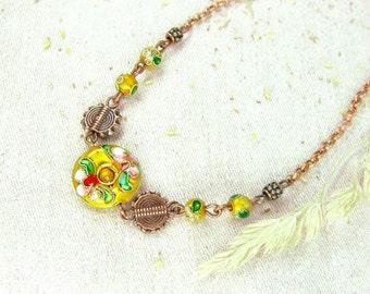 Cloisonne copper necklace