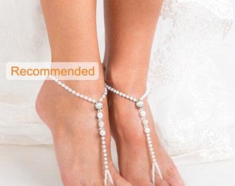 White Pearl Filigree Beaded barefoot sandals, Feet jewelry, Beach wedding Barefoot Sandals, Bridal accessories, Feet Thongs, Footless sandal