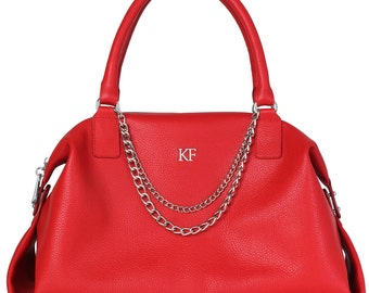 Leather Top Handle Bag, Red Leather Handbag Top Handle, Women's Leather Bag KF-018