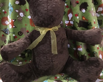 """Minky Bear - Large size - sits approximately 16"""" Great gift for any age child to snuggle with"""