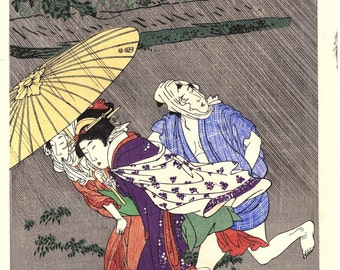 "Japanese Ukiyoe, Woodblock print, antique, Utamaro,  ""Rain Shower"""