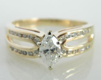 Vintage 14K Yellow Gold Marquise Diamond Engagement Ring
