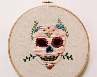Dia de los Muertos Skull Embroidery
