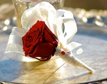 Red Preserved Real Rose Boutonniere